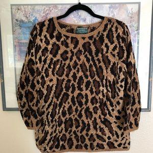 Hand Knit LAUREN Ralph Lauren Leopard Sweater